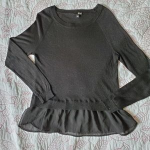 A.n.a. long sleeve top with attached  sheer ruffle